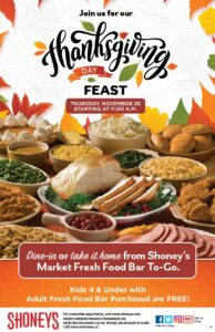 Shoney's Doors Will be Wide Open on Thursday, November 26, for a Spectacular All You Care to Eat, Freshly Prepared Thanksgiving Day Feast and a FREE slice of Pumpkin Pie