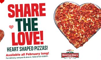 Heart Shaped Pizzas Are on the Menu All Month Long at Mountain Mike's Pizza