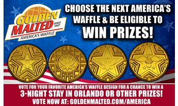 Choose the Next America's Waffle & Be Eligible to Win Prizes from Golden Malted – America's #1 Waffle