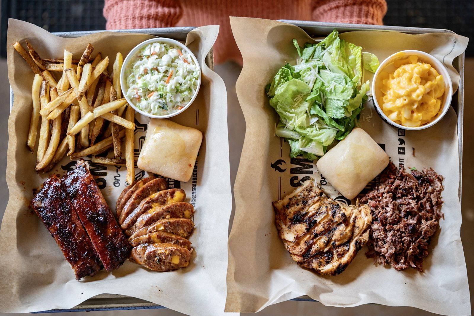 At Dickey's, all barbecued meats are smoked onsite in a hickory wood burning pit.